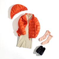新款轻薄款纯色儿童羽绒服男童宝宝童装保暖小孩外套短款中小女童 橙色 拆帽