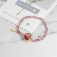 网红款简约玛瑙原石水晶手链草莓晶冷淡风手链