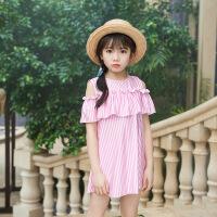 新款韩版儿童连体泳衣可爱圆领条纹裙女童中童游泳衣裙式泳装