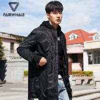 马克华菲棉衣男2017冬季新款男士中长款韩版修身棉服刺绣外套潮流