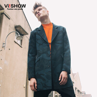 viishow秋冬新款风衣 欧洲时尚中长款迷彩图案风衣保暖大衣男 F102853