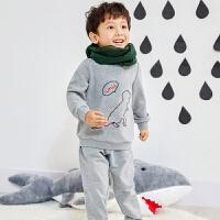 AMII童装2018秋秋新款男童运动套装中小儿童加厚保暖卫衣两件#