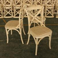 【品牌热卖】椅子实木餐椅家具美式乡村背叉椅复古餐厅靠背椅实木简约交叉椅子 椿木(桦木)白坯 常规