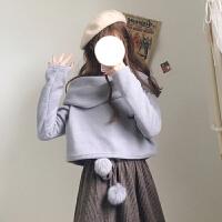 秋冬女装韩版小清新宽松一字肩慵懒风套头针织衫毛衣长袖上衣露肩