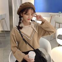 秋冬女装韩版学院风宽松系带假两件拼色V领灯芯绒T恤打底衫上衣潮