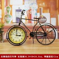 美式复古家居装饰品摆件客厅电视柜书房摆设工艺品自行车座钟时钟