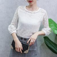 春季女装新款韩版气质灯笼袖白色蕾丝衫上衣百搭七分袖镂空打底衫