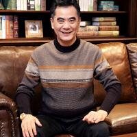 中老年人毛衣男装冬季中年男士纯羊毛衫爸爸装圆领套头针织衫线衣