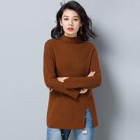 秋冬新款女装高领羊绒衫中长款宽松大码开叉套头毛衣打底羊毛衫厚