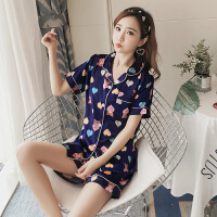 睡衣夏季冰丝韩版性感真丝绸短袖两件套装夏天宽松