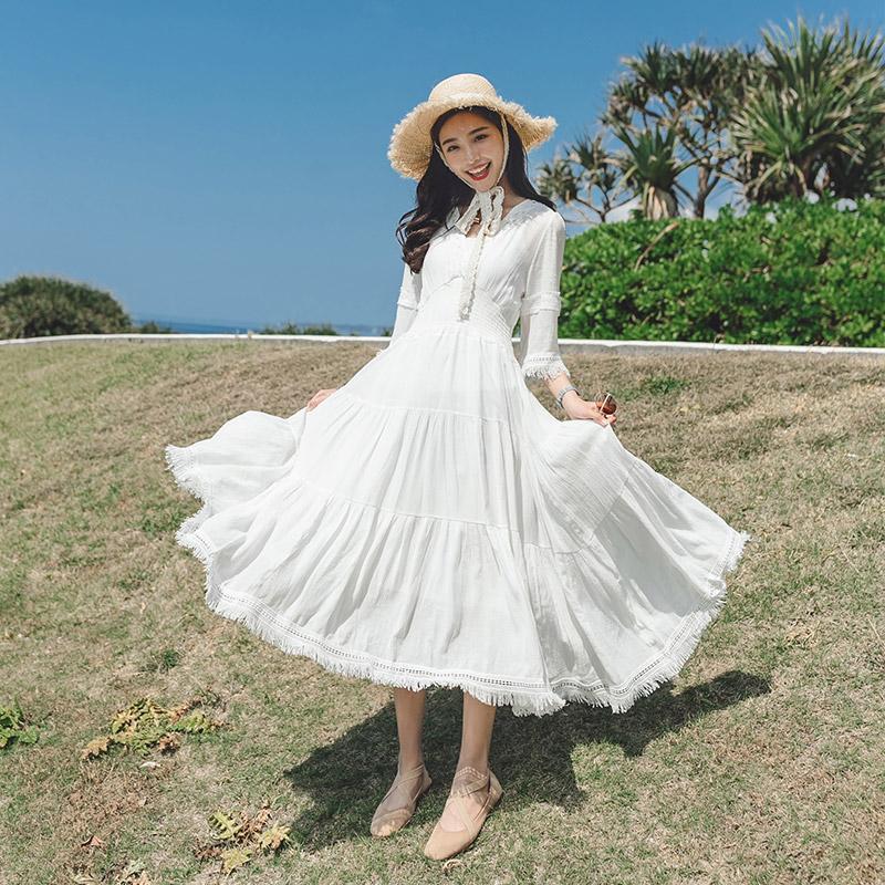 雪纺连衣裙中长款2018新款夏季超仙仙女白色极简冷淡风蕾丝裙子夏 白色 发货周期:一般在付款后2-90天左右发货,具体发货时间请以与客服协商的时间为准