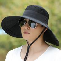户外钓鱼帽夏天太阳帽大檐渔夫帽男士防晒遮阳韩版潮登山帽子 可调节