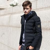 【2件2.5折】唐狮羽绒服男青少年短款连帽贴标冬装新款修身冬季男装外套潮