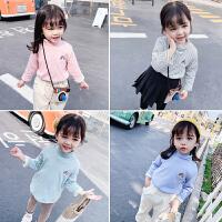 女童打底衫加绒女宝宝半高领t恤秋冬婴儿童洋气冬季内搭上衣