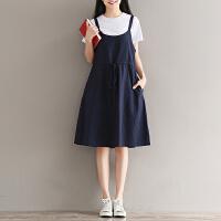 少女2018新款夏装中长款吊带连衣裙子初中高中学生棉麻背带裙套装