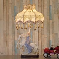欧式台灯卧室床头创意温馨北欧公主婚房装饰美式客厅复古陶瓷台灯