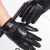新款男士羊皮手套加绒加厚保暖真皮手套时尚防风骑车手套 可礼品卡支付
