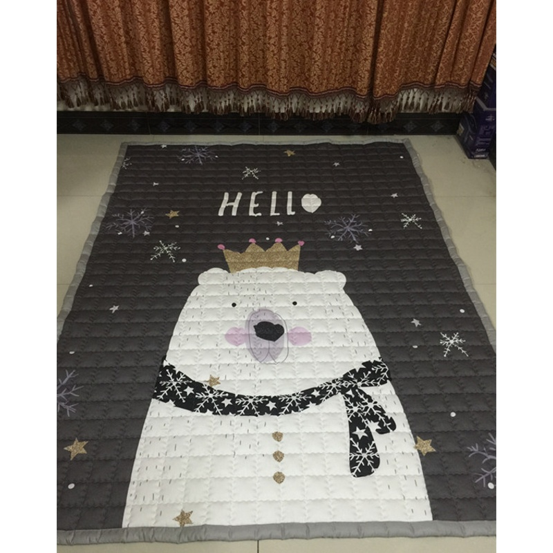 纯棉儿童地垫爬爬垫客厅爬行垫加厚婴儿游戏宝宝地毯机洗家用卧室  200cm*150cm
