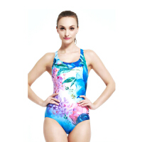 YINGFA英发 女连体三角数码印花训练游泳衣Y1613 Y1616 女士遮肚显瘦修身泳装