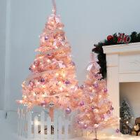 圣诞节装饰品圣诞树粉色植绒树套餐商场用带LED灯套餐圣诞树装饰