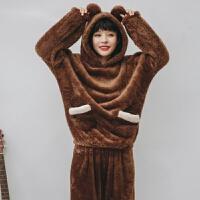 珊瑚绒睡衣女冬季加厚甜美可爱法兰绒韩版秋天清新学生家居服套装