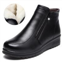 秋冬季真皮软底妈妈鞋棉鞋短靴平底防滑老人鞋加绒保暖中老年棉靴