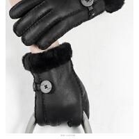 时尚大气女士羊皮手套加绒加厚户外保暖情侣皮毛一体真皮手套 可礼品卡支付