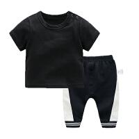 婴儿男童短袖T恤4-7-1个月女宝宝韩版潮款裤子夏装
