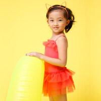 儿童泳衣女童连体裙式泳衣公主可爱女童游泳衣韩版中大童 支持礼品卡支付