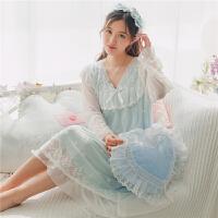 春季公主睡裙蕾丝网纱少女法式宫廷风莫代尔复古睡衣甜美家居服女 浅蓝色