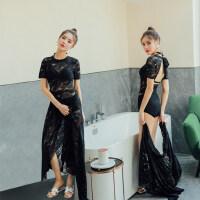 游泳衣女显瘦遮肚 性感韩国新款 网红蕾丝黑色连体泳衣连衣裙