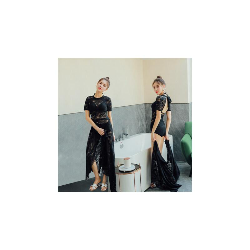 游泳衣女显瘦遮肚 性感韩国新款 网红蕾丝黑色连体泳衣连衣裙 品质保证 售后无忧