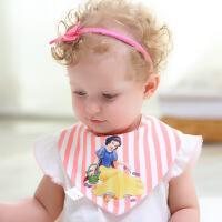 阳光菊 纯棉3D卡通图案两用条纹围嘴 印花卡通三角巾