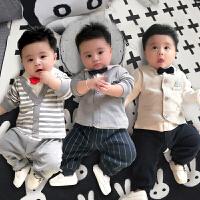 婴儿连体衣服男宝宝0岁3个月1春夏春装6新生儿外出哈衣套装潮服