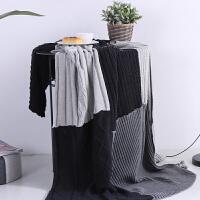 家纺单人披肩毯全棉针织毯毛毯办公室沙发盖毯旅行车用毯子 130x170cm