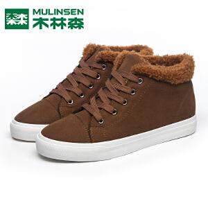 木林森男鞋冬季防水高帮棉鞋加绒保暖雪地靴系带学生韩版休闲板鞋