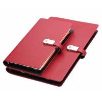 多功能笔记本文具移动电源U盘记事本 印logo定制高档商务创意礼品 8.5寸十字纹 (红色)8GB U盘 8000毫安
