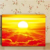 太阳日出壁画餐厅挂画风景客厅书房装饰画无框画照片墙风水画 风水大师