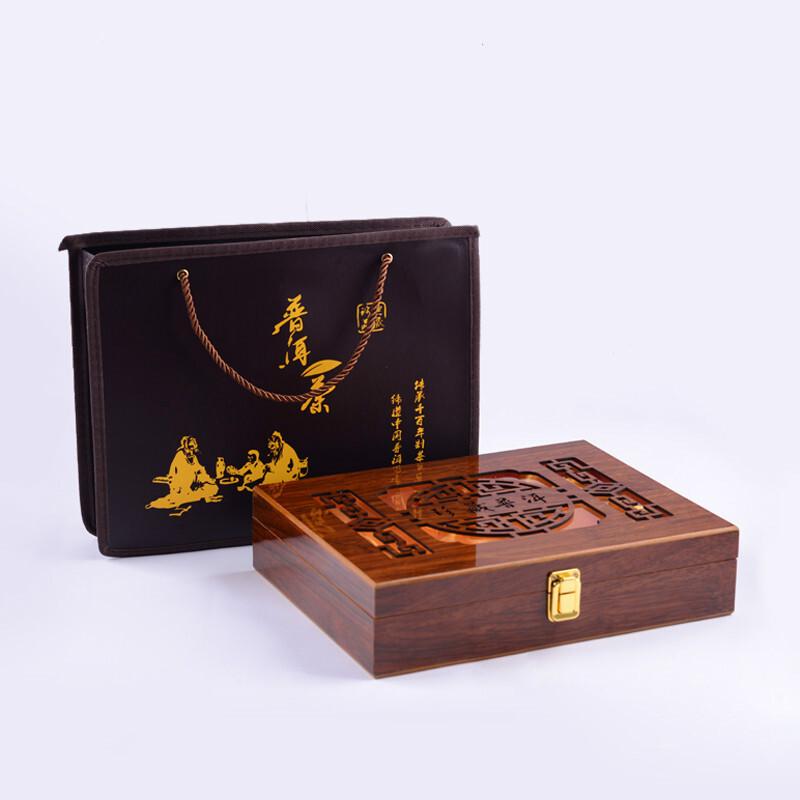 珍藏普洱茶包装盒空盒镂空礼品茶包装木盒单饼357g空盒茶叶空礼盒 厂家直销可定做各种木盒纸盒皮盒价格优势
