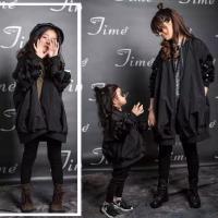 儿童外套春秋新款韩版童装亲子装母女中大童棒球服中长款风衣
