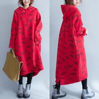 大码女装200斤胖mm加厚长款连衣裙显瘦秋冬长裙卫衣加绒外套