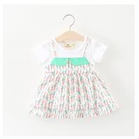 女童裙子夏季儿童短袖假两件连衣裙婴儿宝宝夏装公主裙女
