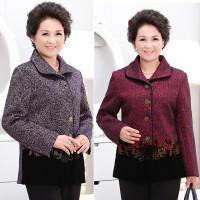 中老年女外套秋冬季70-80岁老太太上衣妈妈装翻领印花羊毛尼外套