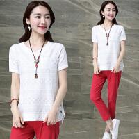 棉麻短袖T恤女装夏季新款宽松大码中长款刺绣纯白色上衣