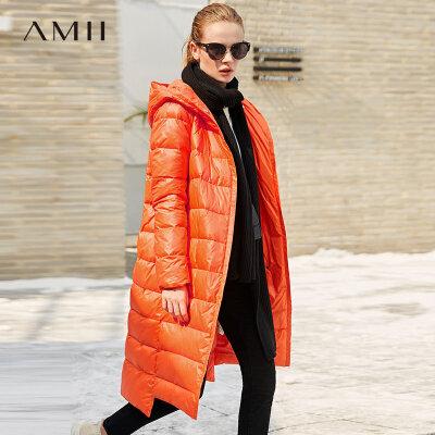 Amii[极简主义]轻奢 90白鸭绒羽绒服 冬季休闲连帽暗扣加厚长外套