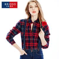 BRIOSO全棉加绒磨毛女士保暖衬衫 女装加绒加厚韩版显瘦打底格子保暖长袖衬衫WE19395C3