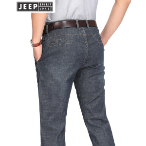 JEEP吉普薄款牛仔裤男春夏棉质微弹男装牛仔长裤