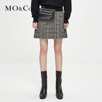 MOCO冬季新品A字复古格纹短裙半身裙MA184SKT109 摩安珂