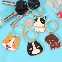 韩版动物头像钥匙扣可爱狗狗 卡通汽车挂饰金属钥匙圈钥匙扣