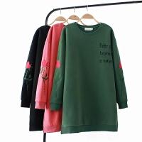 大码女装玫瑰图案宽松T恤裙秋冬新款胖MM字母印花长袖连衣裙加厚